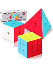 Roxenda Speed Cube Set, Stickerless Magic Cube Set 2x2x2 3x3x3 Pyramid Frosted Puzzle Cube