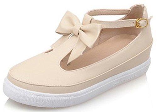 Idifu Kvinna Söt Rosett Låg Klack Plattform Kil Sneakers Fotled Spänne Sandaler Beige
