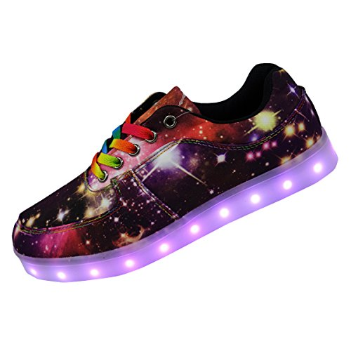 Unique Galaxy Print Led Light Up Sneakers for Adults Mens Womens Luminous Canvas Shoes