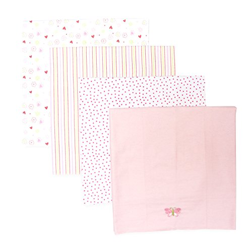 Spasilk Baby-Girls Newborn 4 Pack 100% Cotton Flannel Receiving Blanket, Pink, One Size]()