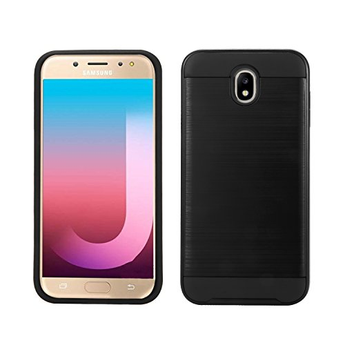 New Frontier Wireless Accessory Compatible with Samsung Galaxy J7 Pro/J730G, Slim Armor Hybrid Cover [Scratch/Dust Proof] Defender Dual Layer Shockproof Protection Case (VGC Black)