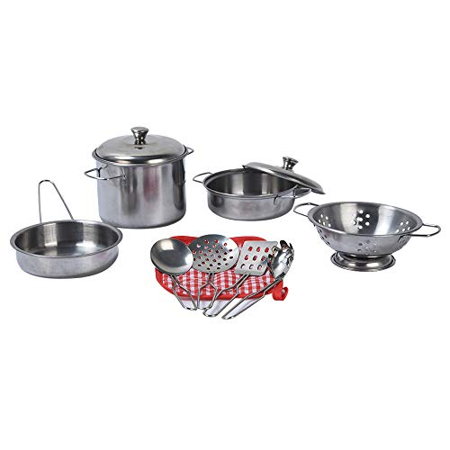 FarJing 11Pcs Stainless Steel Pots Pans Cookware Miniature Toy Pretend Play Gift for Kid by FarJing (Image #3)