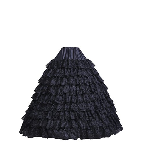 BRL MALL Vintage Crinoline Lace Petticoat Slips for Wedding Dress (Black) (Petticoat Lace Womens)