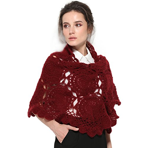ZORJAR Wool Women Knitted Scarf Winter Shawl Crochet Mohair Fashion Scarves(WineRed)