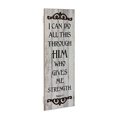 Stonebriar Philippians 4:13 Rustic Decorative Worn White Painted Wall Art with Metal Trim (Baby Quotes Angel Christmas)