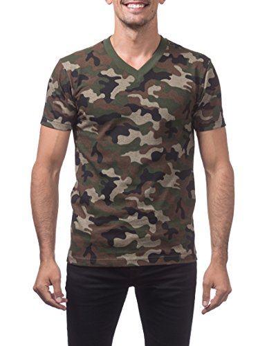 Camo Mens Short Sleeve T-shirt - Pro Club Men's Comfort Short Sleeve V-Neck T-Shirt, Green Camo, Large