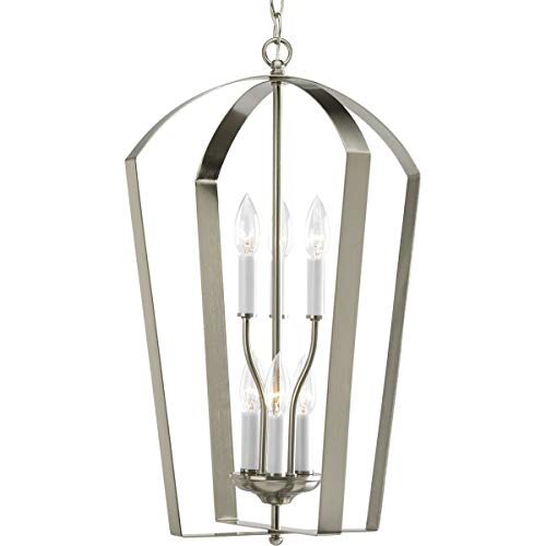 Progress Lighting P3929-09 Gather Collection 6-Light Foyer Pendant, Brushed Nickel