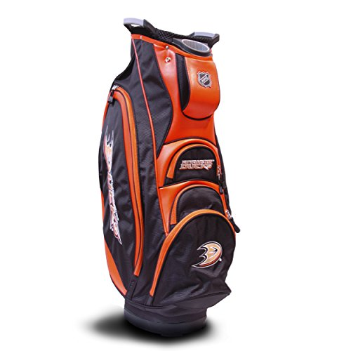 Team Golf NHL Anaheim Ducks Victory Golf Cart Bag, 10-way Top with Integrated Dual Handle & External Putter Well, Cooler Pocket, Padded Strap, Umbrella Holder & Removable Rain Hood ()