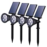 Solar Lights Outdoor, BAXIA Upgraded Solar Spot Lights Outdoor with Auto On/Off Rechargeable Security Wall Lights for Garden, Yard, Patio, Pool, Backyard Decoration(4 Pack)
