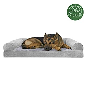 FurHaven Pet Dog Bed | Orthopedic Faux Fur & Velvet Sofa-Style Couch Pet Bed for Dogs & Cats, Smoke Gray, Jumbo 10