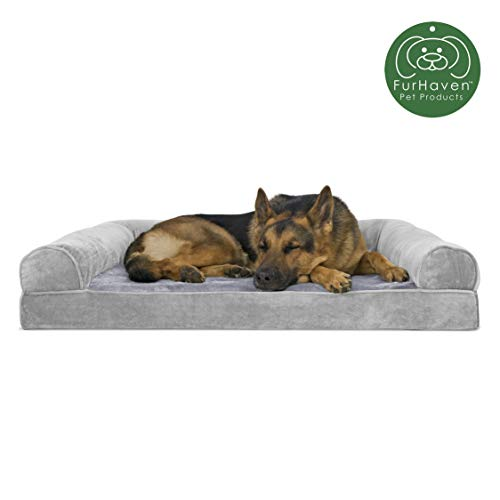 Furhaven Pet Dog Bed | Orthopedic Faux Fur & Velvet Sofa-Style Living Room Couch Pet Bed for Dogs & Cats, Smoke Gray, Jumbo (Boots & Barkley Pet Bed Cover Medium)