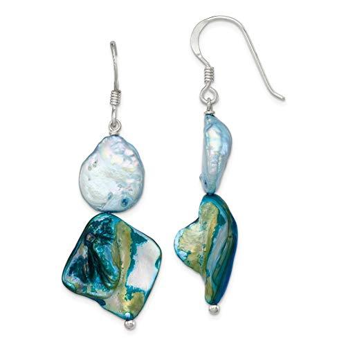 925 Sterling Silver Blue Mother Of Pearl Drop Dangle Chandelier Earrings Fine Jewelry For Women Gift Set -