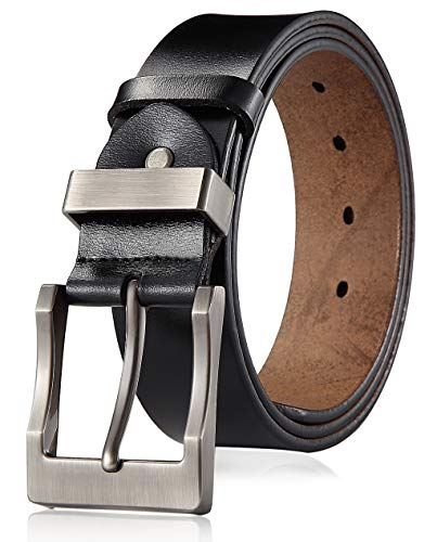 Men's Belt Genuine Leather Black Belts for Jeans 1 1/2 inch,120