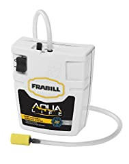 """Frabill ice 14341 min-o-life aerator (replaces 1424, 1434). Whisper drive aeration. Effectively aerates up to 15 gallons. Includes aerator hose and stone. Water resistant gasket and switch. Clips to any bucket. Runs on two d batteries. 8.8""""X ..."""