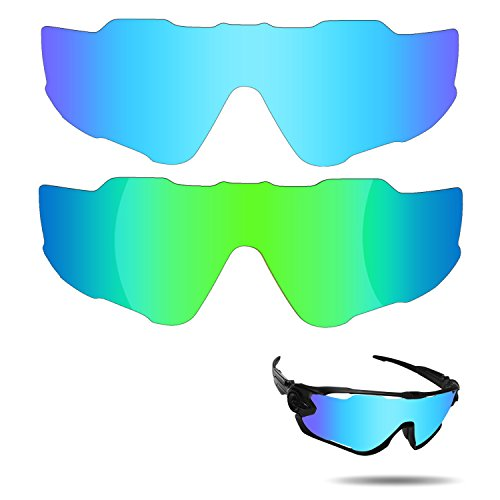 Fiskr Anti-saltwater Polarized Replacement Lenses for Oakley Jawbreaker Sunglasses 2 Pairs Packed (Ice Blue & Emerald - Define Polarizes