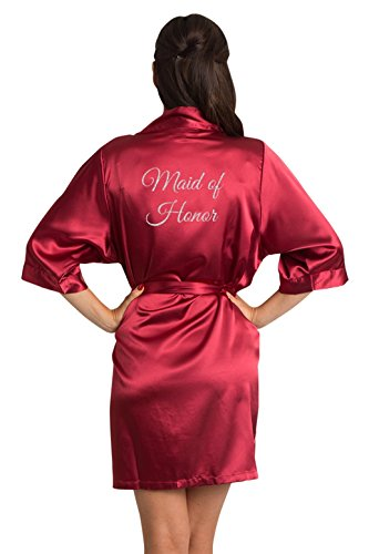 Zynotti Women's Glitter Print Maid of Honor Wedding Kinomo Cranberry Satin Robe L/XL ()