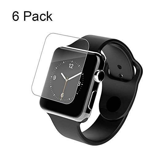 Screen Protector Compatible for Apple Watch 40 44mm Series 4 Slim Tempered Glass 6 Pack (40mm, Transparent)