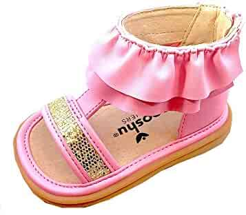 6914be5164c8 Mooshu Trainers Girls Pink Ruffle Trim Zipper Squeaky Lucy Sandals 3-4 Baby