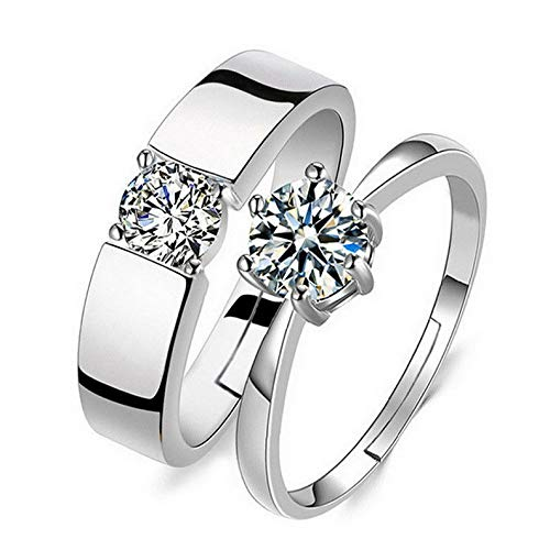 Campton 1 Pair Silver Plated Lovers Couple Set Crystal Diamond Wedding Ring Jewelry | Model RNG - 11770 |