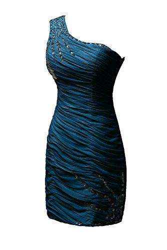 Toscana novia para mujer por la noche un-hombro de la gasa vestido corto vestidos de danza vestidos de cóctel Tinte Blau