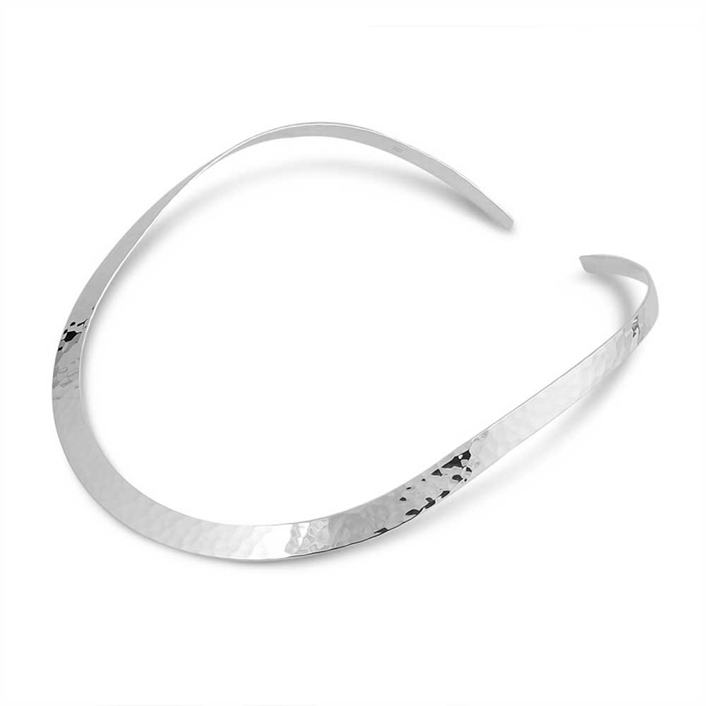 8mm Wide Sterling Silver High Hammered ''C'' Collar Choker Neckwire Necklace