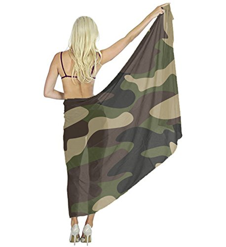 Women Scarf Large Green Brown Camo Shawl Wraps for Evening Dress, Wedding Party by YESGOCO