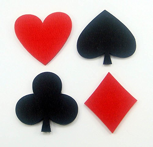 8 PCs Felt Coasters Perfect Kitchen Decoration Poker Signs Heart Spade Diamond - Clubs Diamonds Poker Spades Hearts