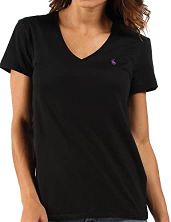Ralph Lauren Womens T-Shirt V-Neck Black Lilac Pony - Large  Amazon ... 02ded3af030