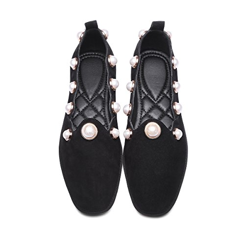 square BlackWomen JIEEME Ballet Pearls Women Fashion Single toe leather Black shoes Ladies Spring Genuine flats qqCaxEw4