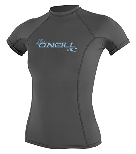 O'Neill Women's Basic 50+ Skins Short Sleeve Rash Guard, Graphite, Medium
