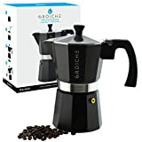 GROSCHE Milano Moka Stovetop Espresso Coffee Maker (6 Cup/9.3 oz, Black)