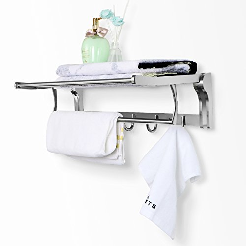 REIDEA Stainless Steel Bathroom Shelves Towel Rack with Foldable Towel Bar, Wall Mounted Organizer with Hooks for Home/Hotel (22 Inch)
