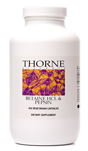 Thorne Research - Betaine HCL & Pepsin - Digestive Enzymes for Protein Breakdown and Absorption - 450 Capsules