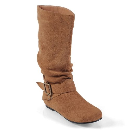 Designs Adi Collection (Journee Collection Women's 'Shelley-6' Regular and Wide-Calf Buckle Slouch Boot Chestnut Extra Wide 10)