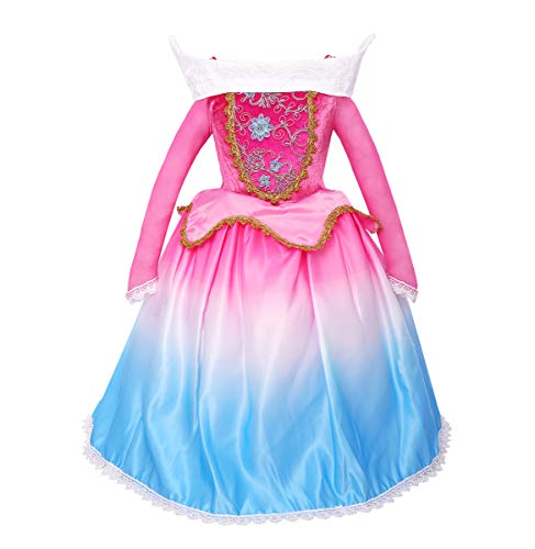 Princess Aurora Dress for Girls Gradient Party Dress up Halloween Christmas Costume Sleeping Beauty Princess Long Gown Pageant Maxi Dress for Kids Baby Carnival Cosplay Photo Shoot Hot Pink+Blue 7-8Y ()