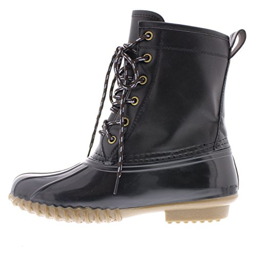 with Lace Traction Waterproof Rubber Quack Toe up Weather All Combat Duck Women's Black Outsole Boot Rain Gold x0B7Afq
