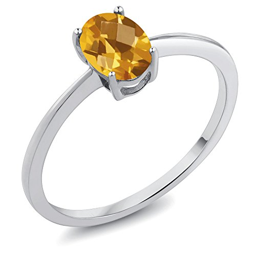 Gem Stone King 0.70 Ct Oval Checkerboard Yellow Citrine 10K White Gold Ring (Size 8)