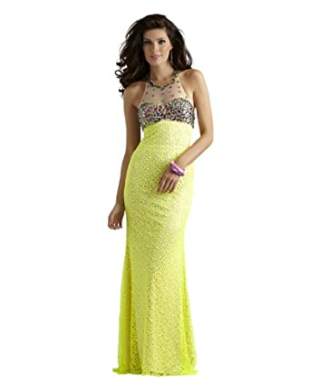 Amazon.com: Neon Yellow Halter Long Formal and Prom Dress 2336: Clothing