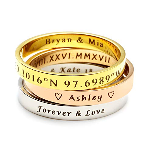 Personalized Master Free Engraving Custom Engraved Name Initial Location Coordinates Thin Stacking Stackable Knuckle Midi Ring Set for Engagement Wedding Bands Size ()