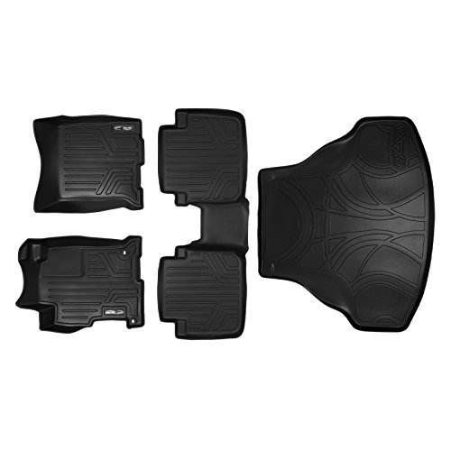 MAXFLOORMAT Floor Mats (2 Rows) and MAXTRAY Cargo Liner Set Black for 2013-2017 Honda Accord Sedan (No Hybrid Models)