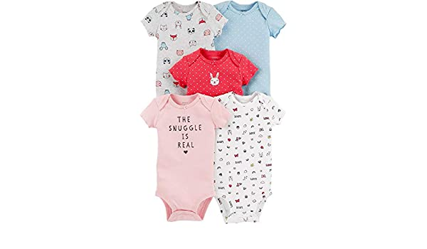 3534a9753 Amazon.com: Carter's Baby Girls 5-pk. The Snuggle is Real Bodysuits:  Clothing