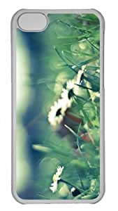 Customized iphone 5C PC Transparent Case - Daisies And Grass Personalized Cover