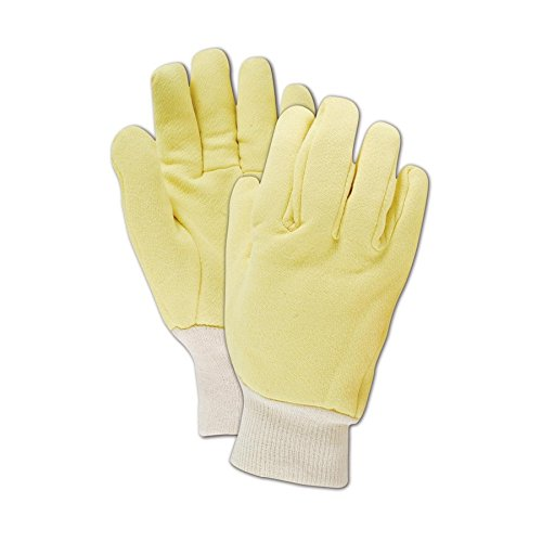 Jersey Reversible Gloves - Carolina Glove KV-62104 Carolina Kevlar Jersey Reversible Work Gloves with Cotton Knit Wrist, Ladies (Fits Medium), Brown Yellow, Men's (Fits Large)