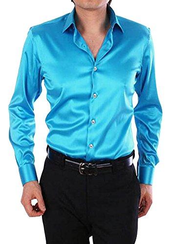 EUROUS Men's Fashion Shiny Regular-Fit Solid Color Dance Prom Silk Like Dress...