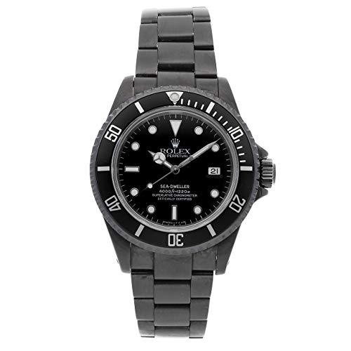 Dial Auto Black (Rolex Custom Sea-Dweller 4000 PVD Coated SS Auto 40mm Black Dial Black Bezel Oyster Bracelet 16600)