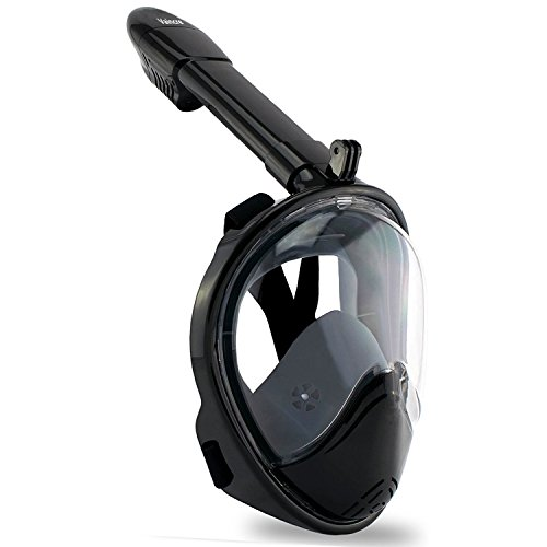 Style Full Button Adult Pro (Vaincre 180° Full Face Snorkel Mask with Panoramic View Anti-Fog,Anti-Leak Snorkeling Design with Adjustable Head Straps-See Larger Viewing Area Than Traditional Masks for Adults Youth (Black L/XL))