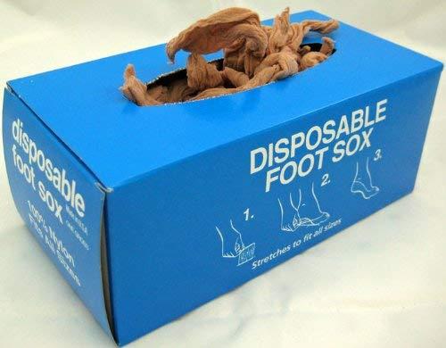Disposable Foot Socks, DISPOSABLE FOOT SOX, Tan- One Gross, 144 pcs (Disposable Socks)