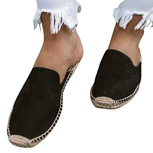 Ermonn Womens Leopard Closed Toe Espadrille Flats Slip on Backless Mule Summer Slide Sandals Black (Footwear Slip Toe Ons Closed)