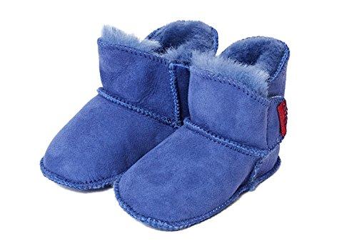 Scarpe per bimbo bambino bébé pelle di pecora blu 20/21 (1-Velcro)