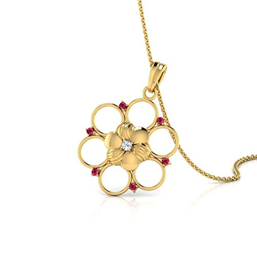 18K Or jaune 0,02ct tw Round-cut-diamond (IJ | SI) et rubis Pendentif